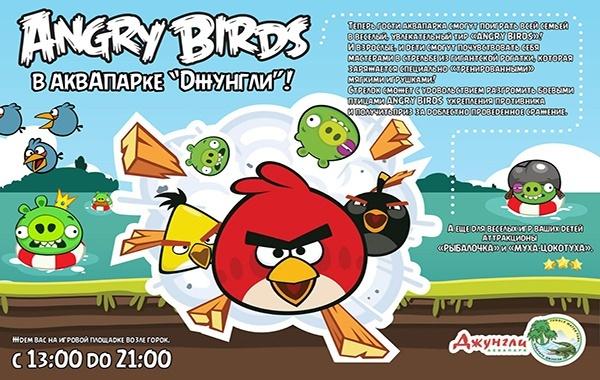 Увлекательный тир «Angry Birds» в аквапарке «Джунгли»