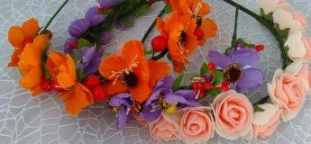 Мастер-класс по изготовлению ободочков из маков и роз